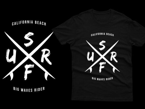 california beach surf big waves rider t shirt vector file