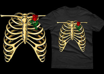 skeleton ribs with rose romantic unique funny tshirt design for halloween horor