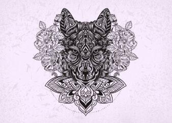 Wolf Mandala t-shirt design