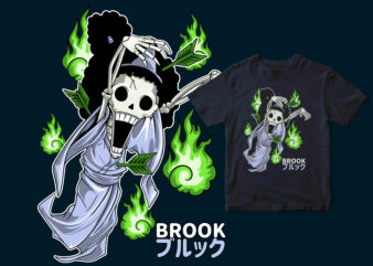 BROOK Chibi, funny design, one piece anime tshirt design