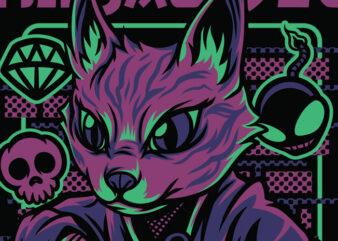 Ninja Style Cat T-Shirt Design