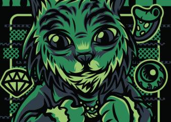 Wild Style Cat T-Shirt Design