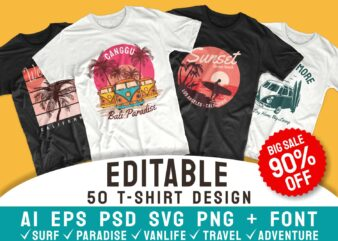 50 Editable surfing paradise t-shirt design vector bundle. Surf, travel, adventure and van life. T shirt designs pack collection. ai eps psd svg png file