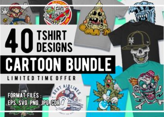 40 Cartoon Tshirt Designs Bundle #1