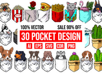 30 Pocket Design Bundle 100% Vector AI, EPS, SVG, PNG, CDR