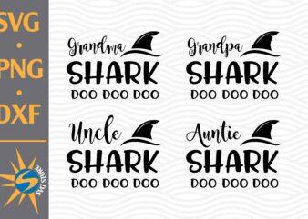 Grandma Shark, Grandpa Shark, Uncle Shark, Auntie Shark SVG, PNG, DXF Digital Files