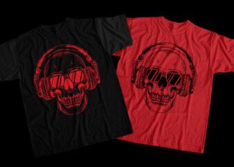 Skull Musical, Musical Skull, Musical Skull png, Musical Skull design T-Shirt Design for Commercial Use