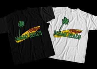 Miami, Surfing, Calfornia, Waves, Miami Beach, Miami Beach png, Miami Beach design T-Shirt Design for Commercial Use