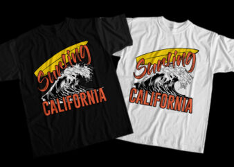 Surfing, Calfornia, Waves, Surfing California, Surfing California png, Surfing California design T-Shirt Design for Commercial Use