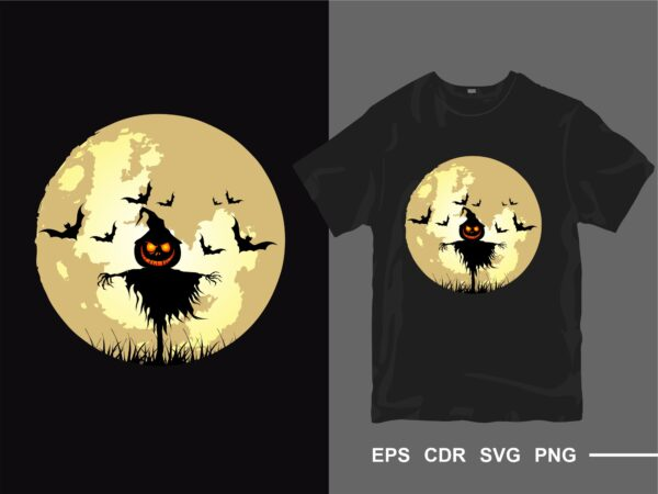 Halloween full moon horror and creepy t-shirt design vector silhouette. t shirt designs for commercial use. Eps cdr svg png