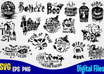 17 designs bundle, Halloween, Halloween svg, Funny Halloween designs svg eps, png files for cutting machines and print t shirt designs for sale t-shirt design png