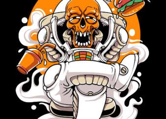 skull astronaut awesome tshirt design