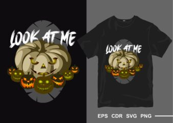 Halloween Pumpkin t-shirt design vector. Look at me tee shirt designs. t shirt design for commercial use. eps cdr svg png