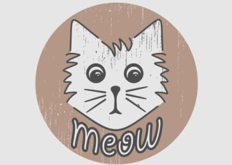 """Meow"" Design Tshirt Vector Template for sale"