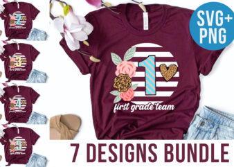 1-6 Grades T-shirt Designs Back to School Designs