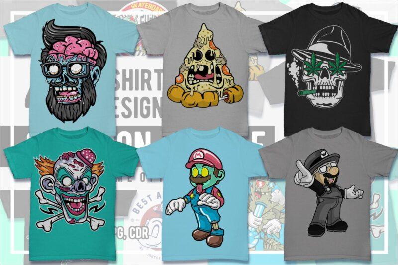 40 Cartoon Tshirt Designs Bundle #1