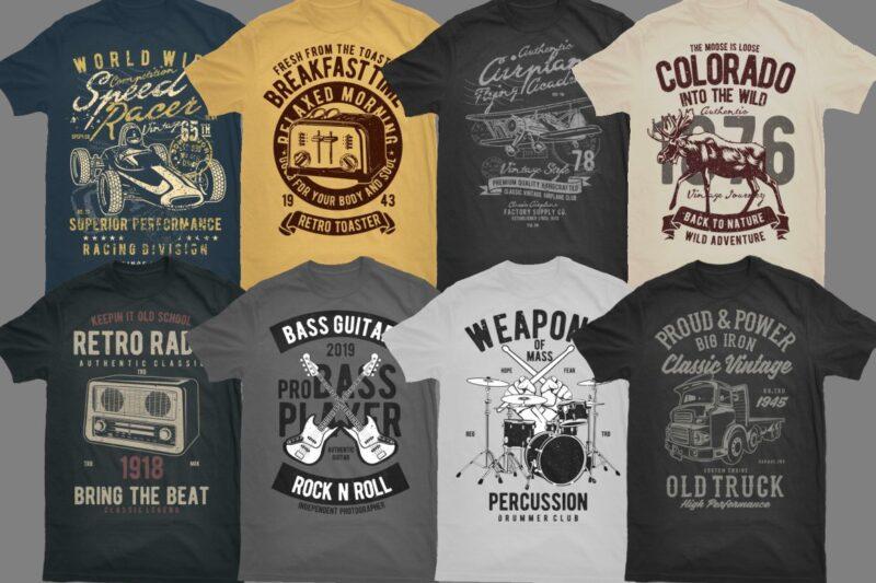 101 Vintage Tshirt Designs Bundle 3