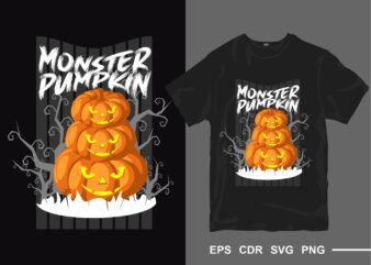 Halloween monster pumpkin t-shirt design vector. Ghost t shirt designs. creepy horror tee shirt. eps cdr svg png