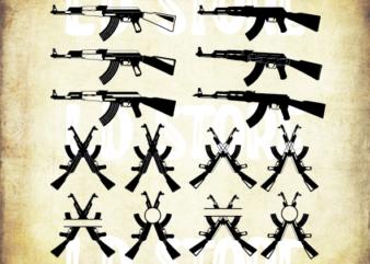 AK-47 SVG , Weapon ,Kalashnikov, Rifle , Gun Svg Printable Vector , Instant Download , Design Tshirt Commercial Use!