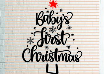 Babys First Christmas (1) SVG – Snowflake SVG – Winter svg – Mittens svg – Christmas SVG – Commercial Use svg, dxf, png and jpg files