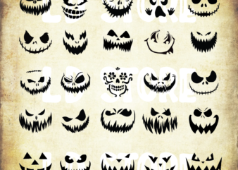 25 Styles Pumpkin Face Svg Bundle, Cute Halloween Faces Svg, Pumpkin Clipart Pack, Nightmare Svg, Halloween Svg, Dxf, Png, Eps