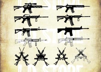 12 Styles AR15 Svg Files Bundle, Gun Svg, weapon ,kalashnikov, rifle , gun svg printable vector , instant download , design tshirt commercial use!