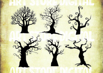 6 styles Dead Tree Svg, Witch Svg, Cute Halloween Svg, Halloween Costume Svg, Halloween Clipart Girl Ghost Svg