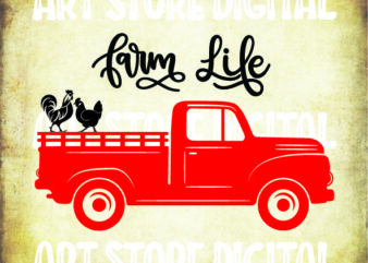 Farm Life SVG, Chicken Design, Farmer Cut File, Farming, Country Wood Sign, Old Red Truck Style, Farm PNG, Country Road DXF, Cameo, Cricut