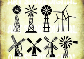 8 styles Farm Windmill SVG, Farm Svg, Farm Windmill Clipart, Farm Windmill Files for Cricut, Windmill Cut Files For Silhouette, Dxf, Png, Eps, Vector