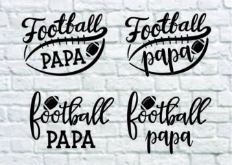 4 styles Football Papa svg bundle, Football Papa svg, football Papa , football svg, svg design, football shirt, football mama svg, cut file, football clipart