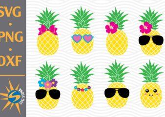 Pineapple, Cute Pineapple SVG, PNG, DXF Digital Files