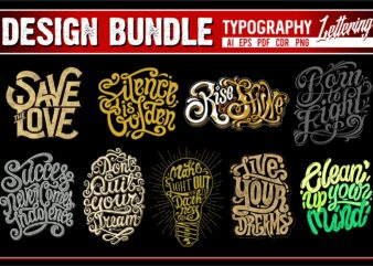 Typography tshirt designs bundle