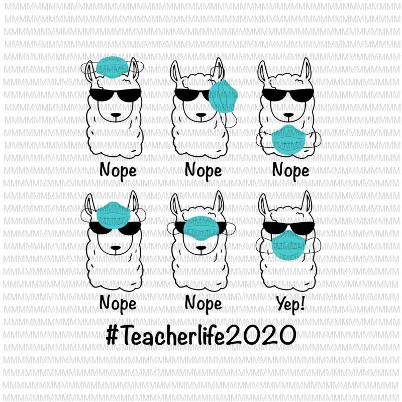 Teacherlife 2020 Svg Png Llama Wearing Mask Wrong Funny Svg Funny Llama Svg Funny Teacher Svg Funny Quote Svg Svg For Cricut Silhouette Buy T Shirt Designs