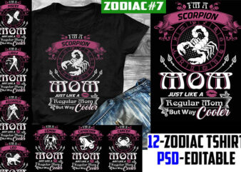 12 birthday zodiac mom bundle pink tshirt design psd file editable text and layer zodiac#7