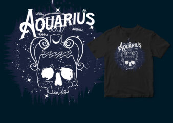 Aquarius skull zodiac t-shirt design