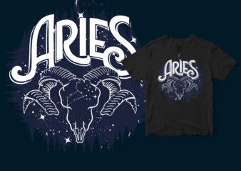 Aries dark line zodiac t-shirt design