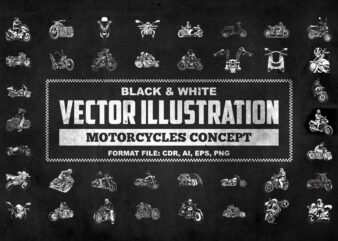 Black & White VECTOR ILLUSTRATION Motorcycles Concept