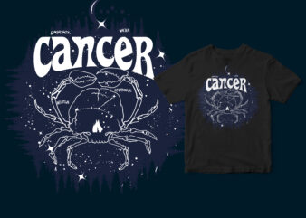 Cancer dark line zodiac T-shirt design