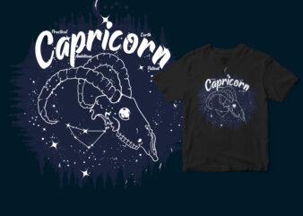 Capricorn Dark line Zodiac T-shirt design