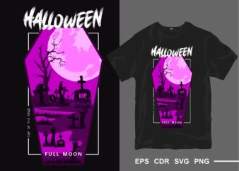 Halloween full moon t-shirt design vector silhouette. Day of the dead t shirt designs. Creepy horror tee shirt for commercial use. Eps cdr svg png