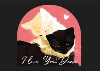 I love you dear with romantic couple cute cat t-shirt design vector