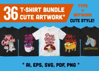 36 T-shirt Bundle Best Cute Artwork