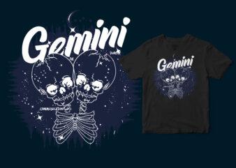 Gemini Dark Line Zodiac T-shirt design