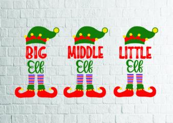 Big, Middle, Little Elf SVG – Snowflake SVG – Winter svg – Mittens svg – Christmas SVG – Commercial Use svg, dxf, png and jpg files