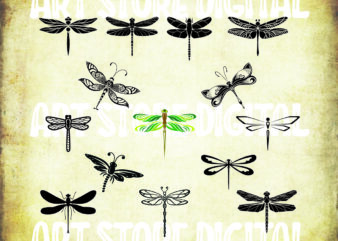 15 styles DRAGONFLY SVG bundle, dragonfly clipart, insect svg, pattern, patterned, clipart, decal, stencil, vinyl, cut file, iron on, silhouette