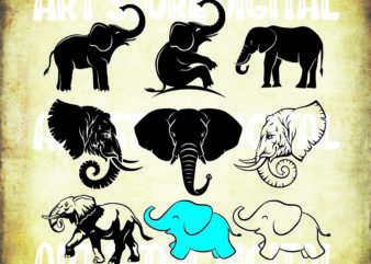 9 styles Elephant SVG | Elephant SVG Bundle | Elephant Cut File | Elephant Silhouette | Elephant Clipart | Elephant Vector | Elephant Designs