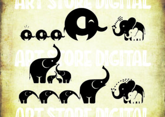 5 styles Elephants Svg, Mother and baby elephant svg, Cute elephant with heart svg, Elephant Clipart, Mothers Day Png, Svg cut file, Clipart eps, png