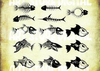 14 styles fish bone svg bundle, Fish Bones SVG, fish skeleton svg, fish svg, fishing svg, dead fish svg, fish clipart, fish cut file, fish silhouette, fish bone silhouette