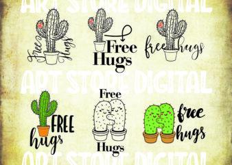 6 styles Free Hugs SVG bunle, cactus svg, Free Hug SVG, Cactus SVG, Free Hugs Cut File, Free Hugs Png, Cactus Png, Cactus Dxf, Silhouette, Cricut, Cut File