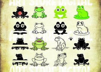 16 styles frog svg bundle, frog svg, frog clipart, toad svg, cute frog svg, frog dxf, frogs svg, svg files for cricut, silhouette, amphibian svg, frog decal, dxf, svg